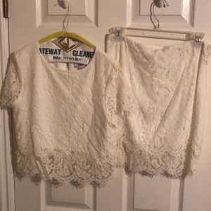 Two piece white lace skirt and shirt